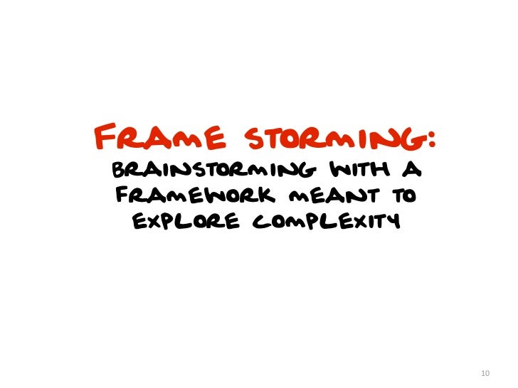 Frame storming:Brainstorming with aframework meant to explore complexity                       10