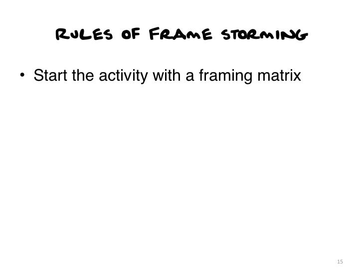 Rules of Frame storming• Start the activity with a framing matrix                                             15