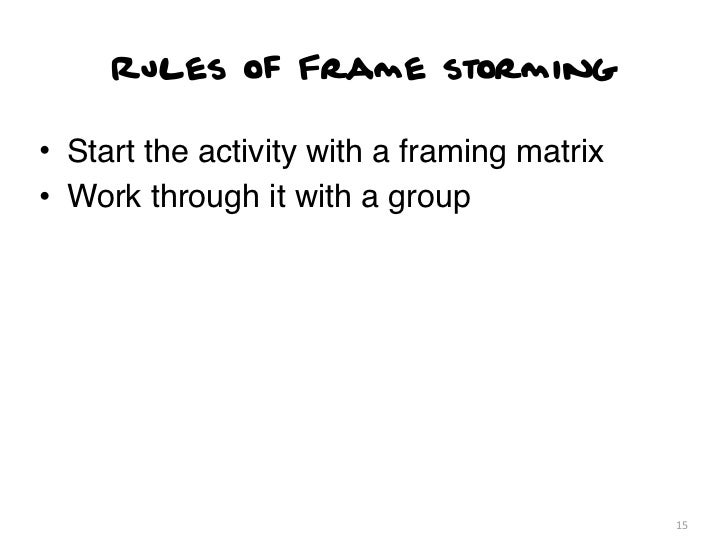 Rules of Frame storming• Start the activity with a framing matrix• Work through it with a group                           ...