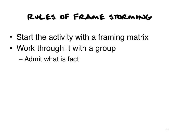 Rules of Frame storming• Start the activity with a framing matrix• Work through it with a group  – Admit what is fact     ...