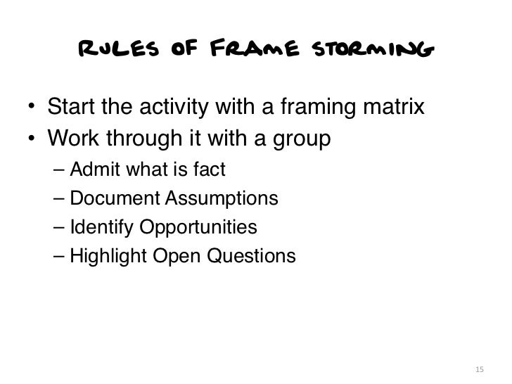Rules of Frame storming• Start the activity with a framing matrix• Work through it with a group  – Admit what is fact  – D...