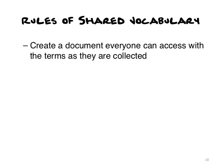 Rules of Shared Vocabulary– Create a document everyone can access with  the terms as they are collected                   ...
