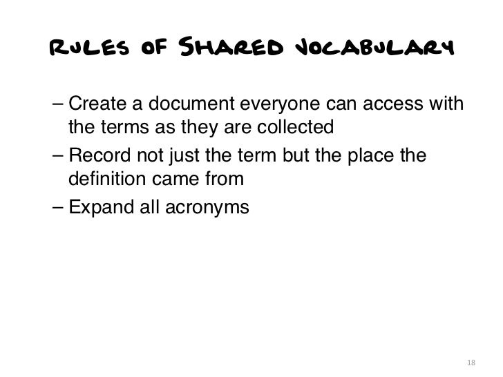 Rules of Shared Vocabulary– Create a document everyone can access with  the terms as they are collected– Record not just t...