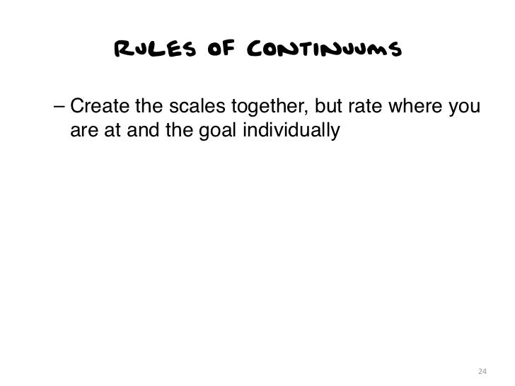 Rules of Continuums– Create the scales together, but rate where you  are at and the goal individually                     ...