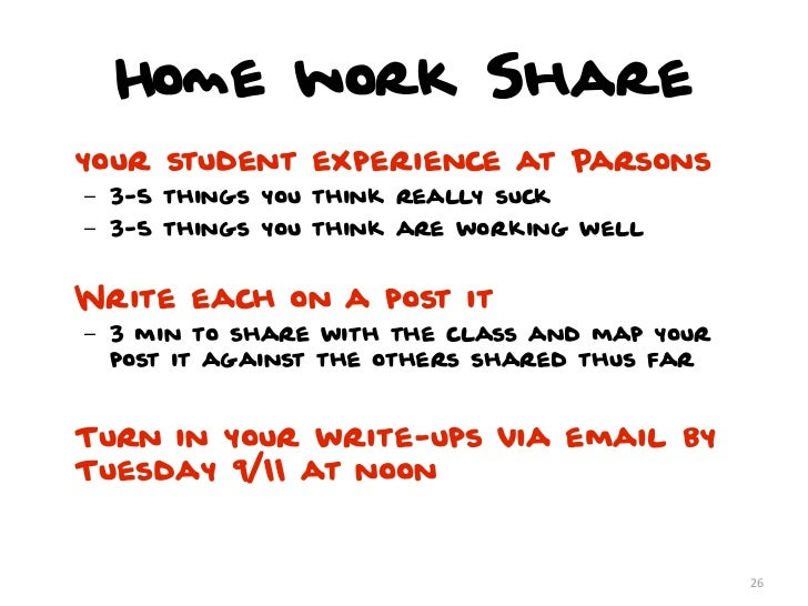 Home work Shareyour student experience at Parsons– 3-5 things you think really suck– 3-5 things you think are working well...