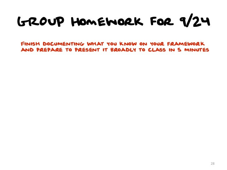 GROUP Homework for 9/24Finish documenting what you know on your frameworkand prepare to present it broadly to class in 5 m...