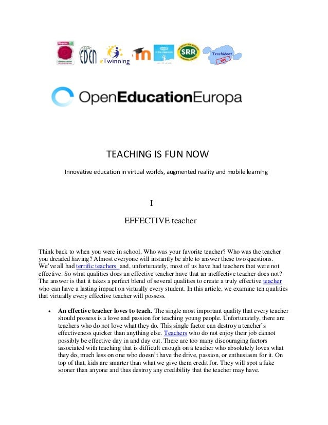 TEACHING IS FUN NOW Innovative education in virtual worlds, augmented reality and mobile learning I EFFECTIVE teacher Thin...