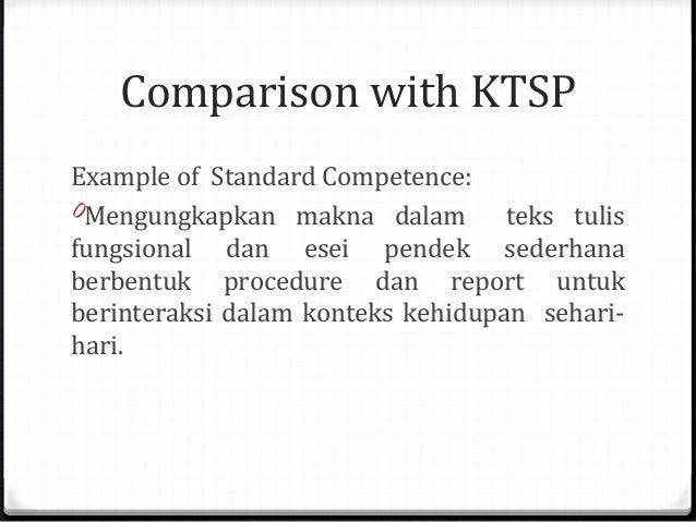 Comparison with KTSP Example of Standard Competence: 0Mengungkapkan makna dalam teks tulis fungsional dan esei pendek sede...