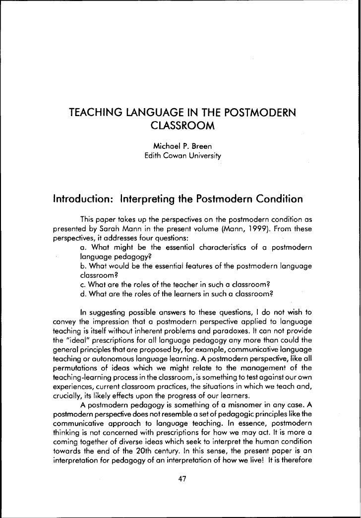 Teaching language in the postmodern classroom