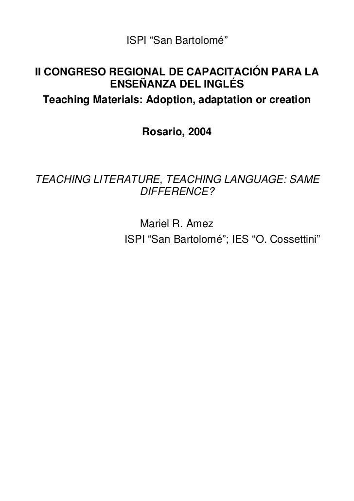 """ISPI """"San Bartolomé""""II CONGRESO REGIONAL DE CAPACITACIÓN PARA LA               ENSEÑANZA DEL INGLÉS   Teaching Materials: ..."""