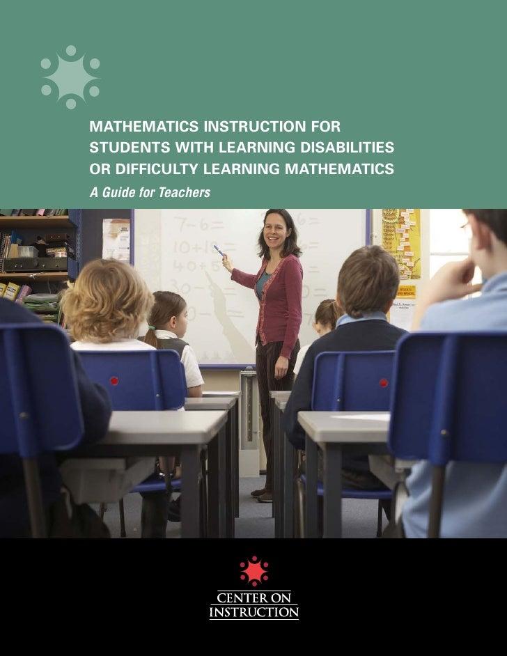 Teaching Math To Sld Ld Guide