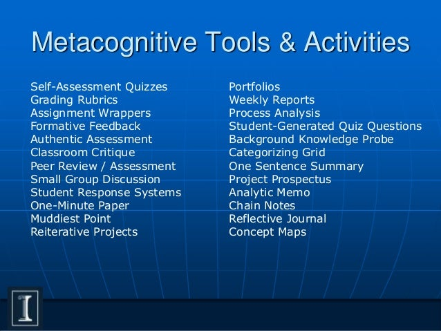 metacognition and self assessment Each of these examples is capsulated into a self-contained wrapper first, a metacognitive question is asked that challenges the student to predict their learning outcome second, the student performs some activity (a lab, homework exercise, or exam) followed by a content question or quiz.