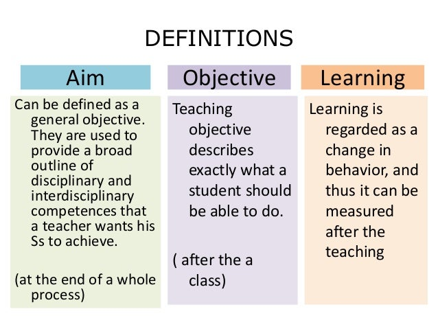 Teaching objectives & aims