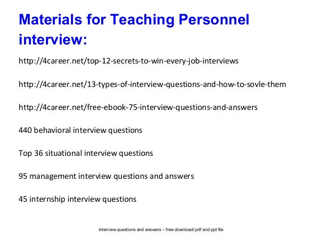 Teaching personnel interview questions and answers