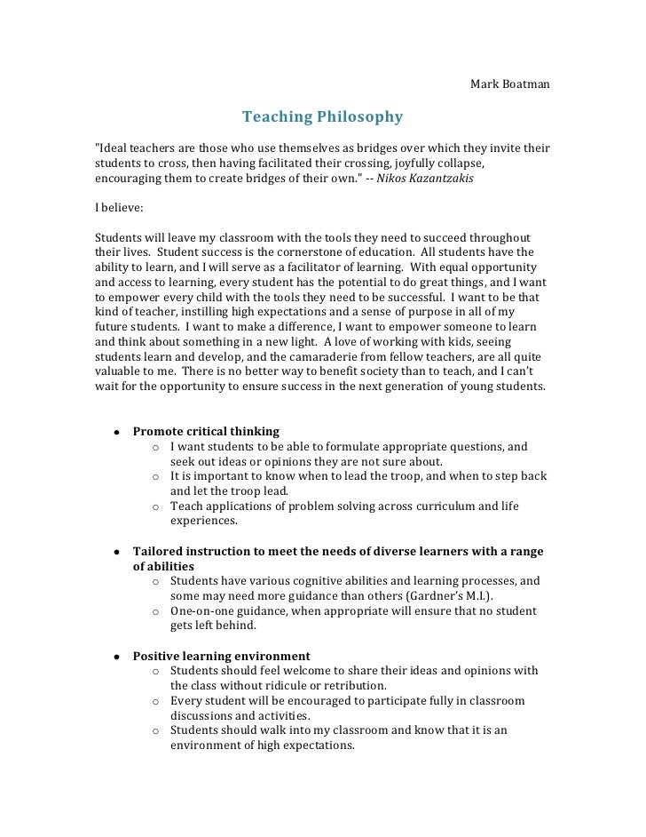 philosophy of teaching statement Philosophy of teaching statement for jake resch the goal of an accredited  athletic training education program is to provide both academic knowledge and .