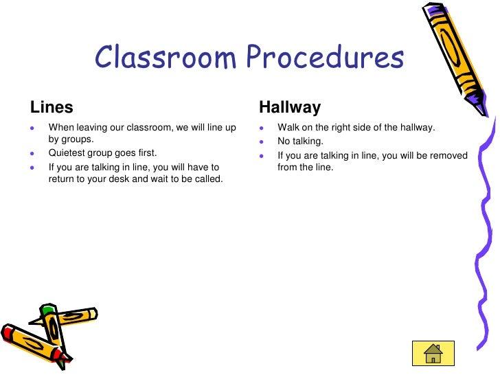 Elementary Classroom Procedures ~ Teaching portfolio linked in