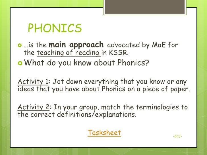 teaching reading through phonics Phonics is a way of teaching children how to read and write it helps children hear, identify and use different sounds that distinguish one word from another in the english language.
