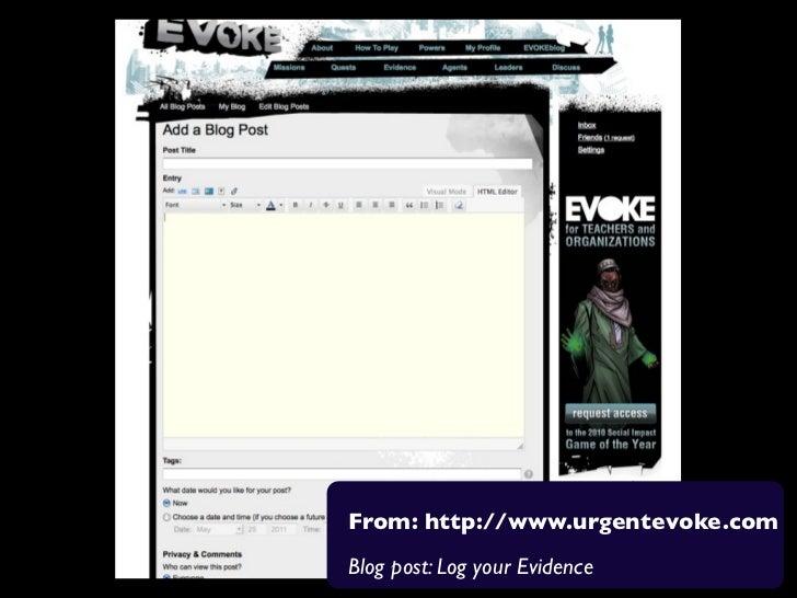 From: http://www.urgentevoke.comBlog post: Log your Evidence
