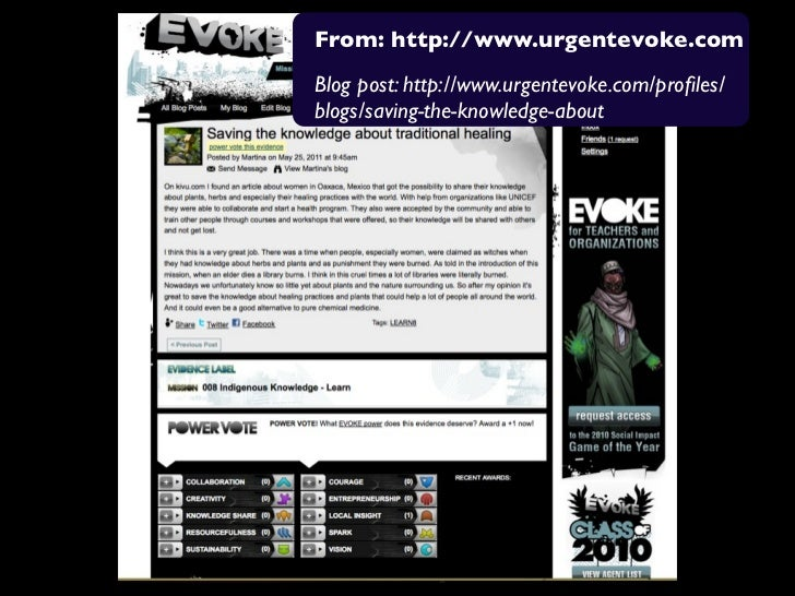 From: http://www.urgentevoke.comBlog post: http://www.urgentevoke.com/profiles/blogs/saving-the-knowledge-about
