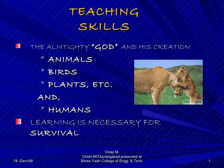 "TEACHING                 SKILLS        THE ALMTIGHTY ""GOD"" AND HIS CREATION          * ANIMALS          * BIRDS          *..."