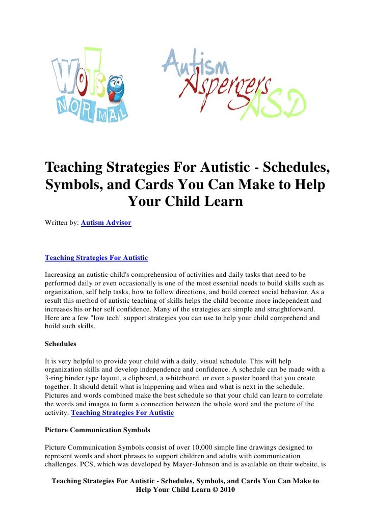 Teaching Strategies For Autistic Schedules Symbols And Cards You
