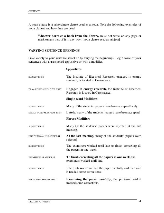 Teaching technical englishwriting – Noun Clause Worksheet