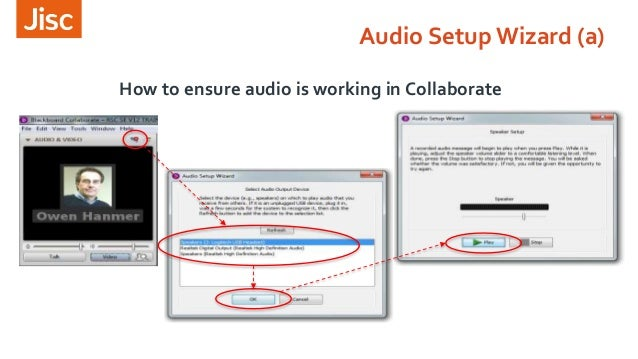 How to ensure audio is working in Collaborate Audio Setup Wizard (a)