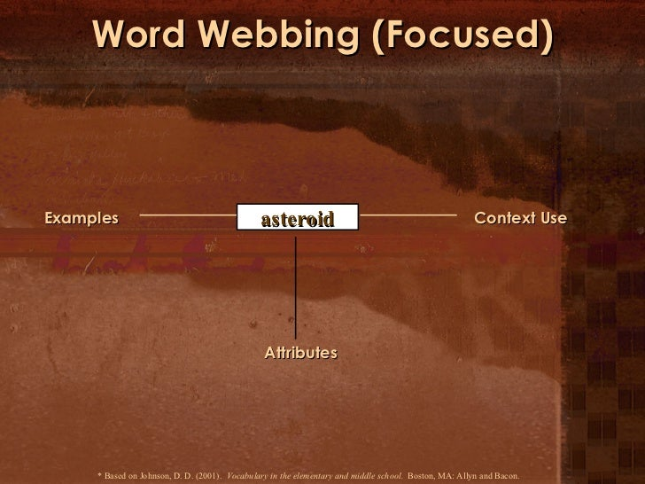 Word Webbing (Focused) * Based on Johnson, D. D. (2001).  Vocabulary in the elementary and middle school.   Boston, MA: Al...