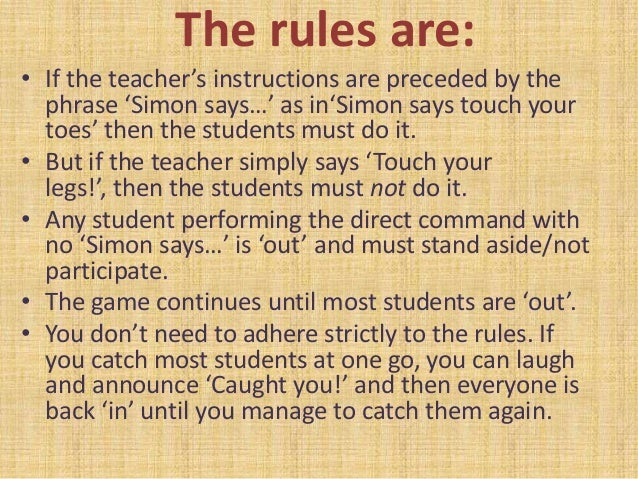 simon says differentiate instruction How can teachers implement differentiation in their young learner  on my first  day teaching english to a class of young learners i walked into a  simon says,  bingo with pictures of animals or other vocabulary from books i.