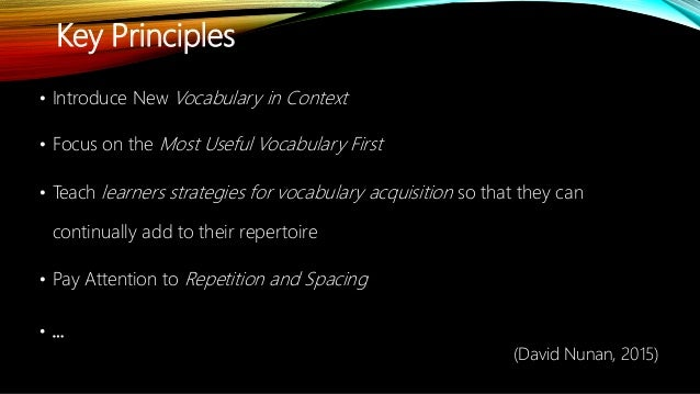 Teaching vocabulary effectively