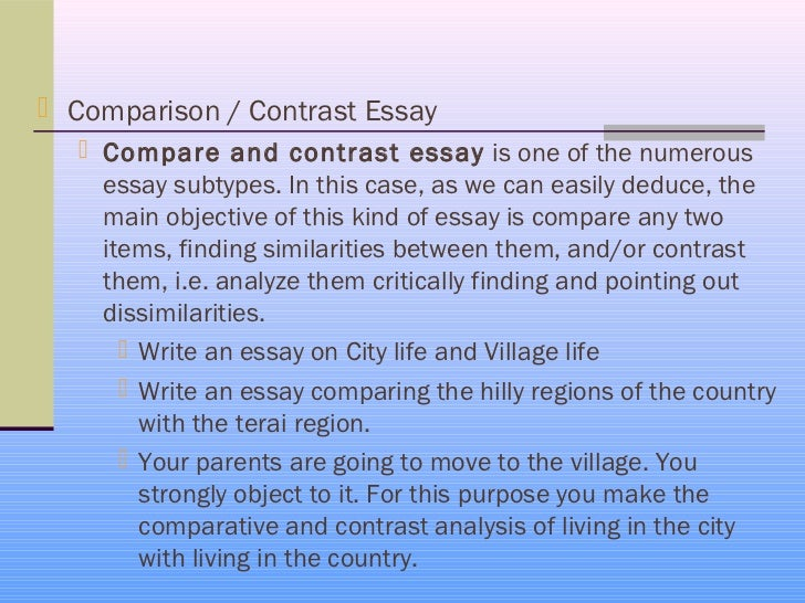 compare and contrast essay free How to write a compare and contrast essay the purpose of a compare and contrast essay is to analyze the differences and/or the similarities of two distinct subjects a good compare/contrast essay.