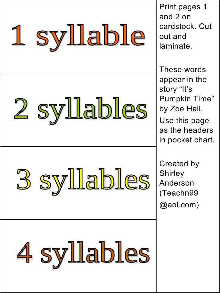 Premise Indicator Words: Teachn99 Syllable+cards+for+it's+pumpkin+time