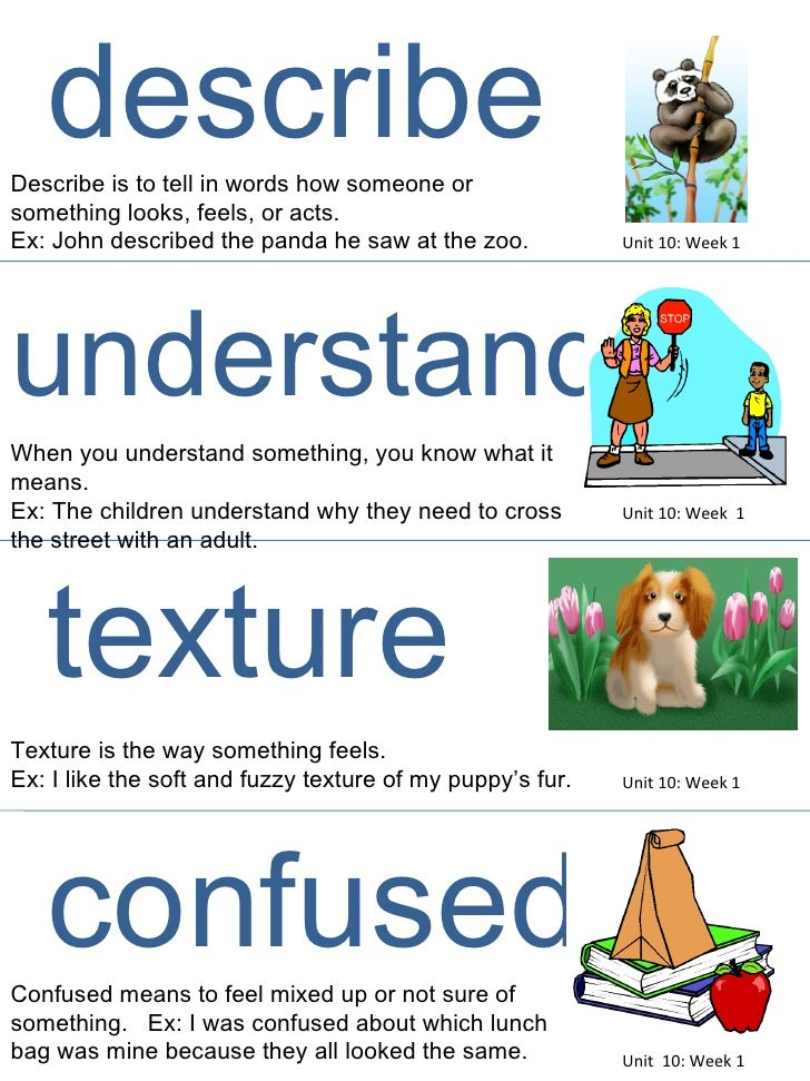 Unit 10: Week 1 describe Describe is to tell in words how someone or something looks, feels, or acts. Ex: John described t...