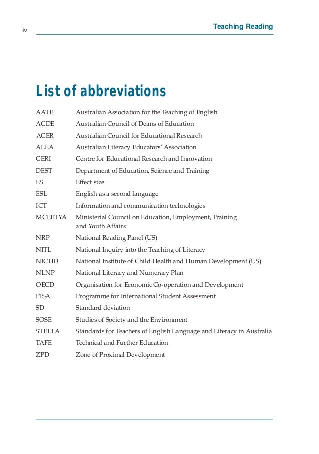122 5 Iv Teaching Reading List Of Abbreviations AATE Australian Association For The English ACDE Council Deans Education ACER
