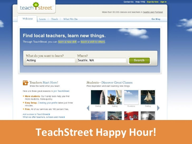 TeachStreet Happy Hour!