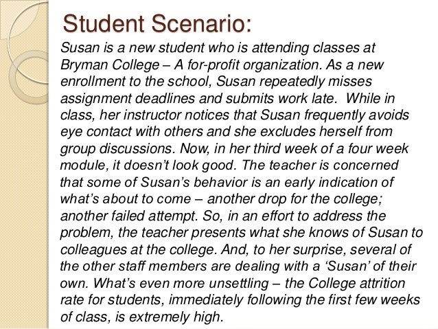 Student Scenario: Susan is a new student who is attending classes at Bryman College – A for-profit organization. As a new ...