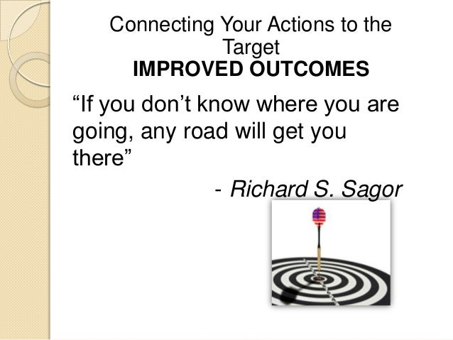 """""""If you don""""t know where you are going, any road will get you there"""" - Richard S. Sagor Connecting Your Actions to the Tar..."""