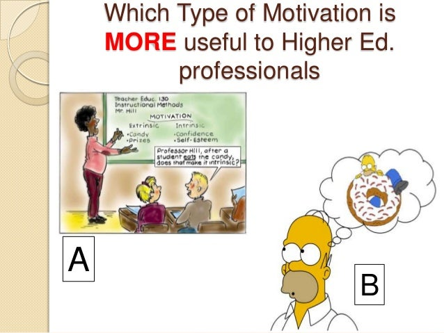 Which Type of Motivation is MORE useful to Higher Ed. professionals A B