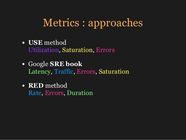 Metrics : approaches • USE method Utilization, Saturation, Errors • Google SRE book Latency, Traffic, Errors, Saturation...