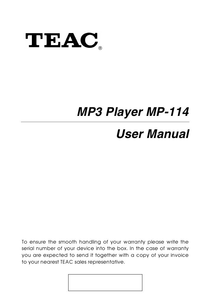Teac mp3 player mp 114 - user manual