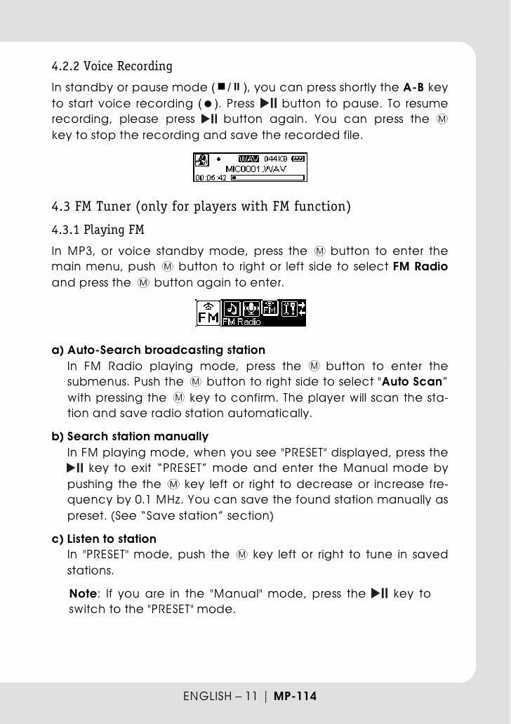 Teac mp3 player mp 114 - user manual
