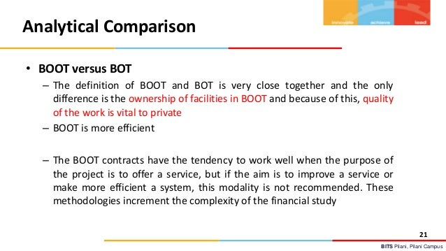 Analytical Parision Of BOT BOOT And PPP Models