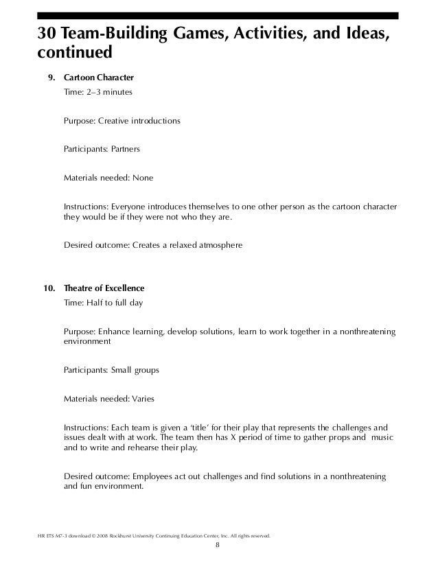 Team building gamesactivities and ideas – Team Building Worksheets
