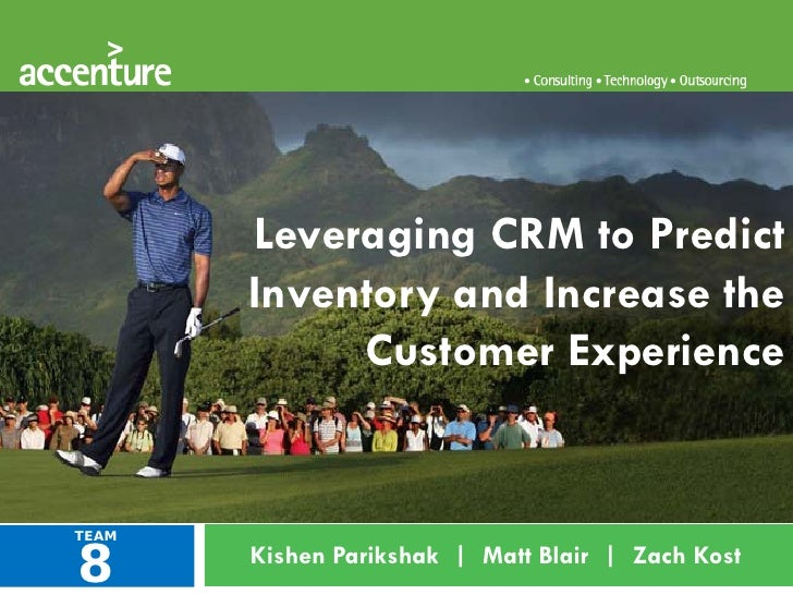 Leveraging CRM to Predict        Inventory and Increase the             Customer Experience    8 TEAM        Kishen Pariks...