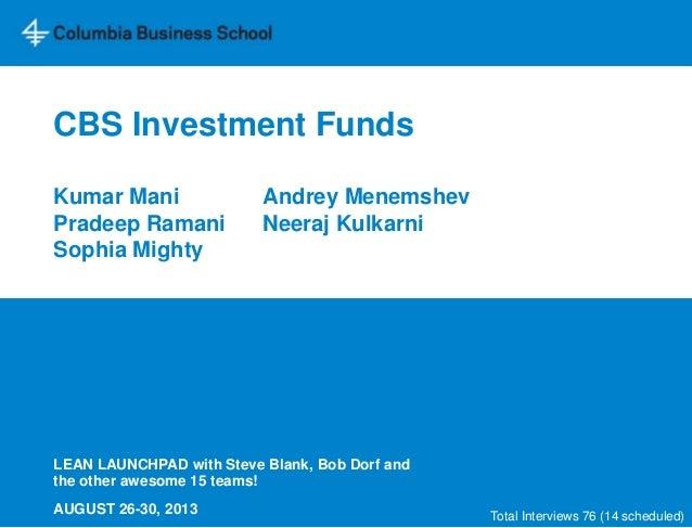 CBS Investment Funds Kumar Mani Andrey Menemshev Pradeep Ramani Neeraj Kulkarni Sophia Mighty LEAN LAUNCHPAD with Steve Bl...