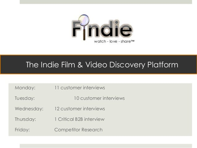 The Indie Film & Video Discovery Platform Monday: 11 customer interviews Tuesday: 10 customer interviews Wednesday: 12 cus...
