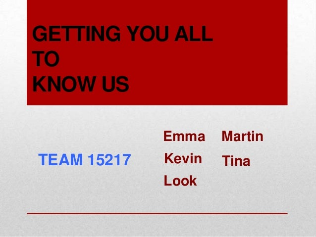 GETTING YOU ALLTOKNOW US             Emma    MartinTEAM 15217   Kevin   Tina             Look