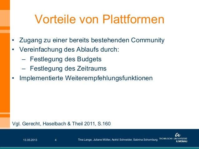 • Zugang zu einer bereits bestehenden Community• Vereinfachung des Ablaufs durch:– Festlegung des Budgets– Festlegung ...
