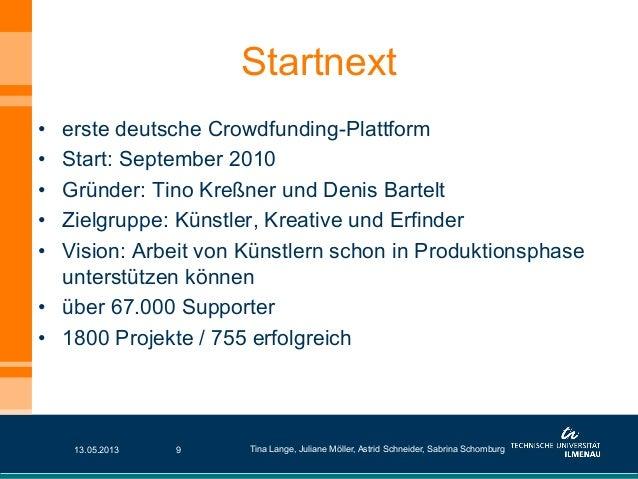 Startnext• erste deutsche Crowdfunding-Plattform• Start: September 2010• Gründer: Tino Kreßner und Denis Bartelt• Ziel...