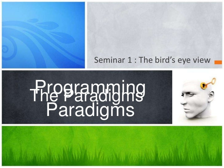 Seminar 1 :The bird's eye view<br />The Paradigms<br />Programming Paradigms<br />